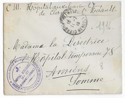 1916 - ENVELOPPE FM De L'HOPITAL AUXILIAIRE N°27 De CLERMONT L'HERAULT (HERAULT) => AMIENS - Guerra Del 1914-18