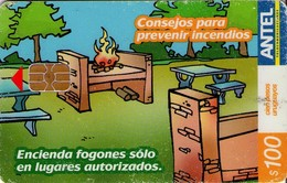 TARJETA TELEFONICA DE URUGUAY, 426a (187) CONSEJOS PARA PREVENIR INCENDIOS - CHIP BLANCO - Uruguay