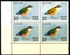 BIRDS-INDIAN PITTA-BLOCK OF 4-INDIA-1978-SCARCE-MNH-B9-853 - Climbing Birds