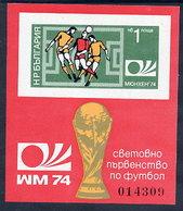 BULGARIA 1974 Football World Cop Imperforate Block MNH / **  Michel Block 47B - Blocks & Sheetlets