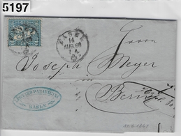 1864 Sitzende Helvetia/Helvétie Assise 31e/23 Basel 14.Aug.64 To Bern (Leonhard Paravicini) - 1862-1881 Sitzende Helvetia (gezähnt)