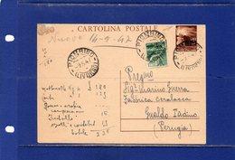 ##(DAN185/1)-9-5-1947-cartolina Postale Democratica L.3 Filagrano C131 Da Piombino Per Gualdo Tadino In Tariffa L.4 - 6. 1946-.. República