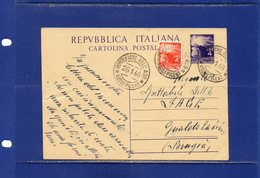 ##(DAN185/1)-26-1-1948-cartolina Postale Democratica L.4 Filagrano C133 Da Montefiore Dell'Aso  Per Gualdo Tadino - 6. 1946-.. República