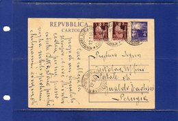 ##(DAN185/1)-12-1-1948-cartolina Postale Democratica L.4 Filagrano C133 Da Montefiore Dell'Aso  Per Gualdo Tadino - 6. 1946-.. República