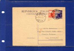 ##(DAN185/1)-12-12-1947-cartolina Postale Democratica L.4 Filagrano C133 Da Riccia Frazionario 15-93 Per Sala Consilina - 6. 1946-.. Repubblica