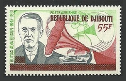 DJIBOUTI 1977 EDISON INVENTOR GRAMAPHONE OVERPRINT ON AFFARS MNH - Djibouti (1977-...)