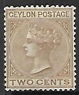 Ceylon   1872   Sc#63   2c  Queen Victoria MH*   2016 Scott Value $32.50 - Ceylon (...-1947)
