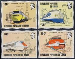 Congo Brazzaville 1982 Mi 855 /8 YT 656 /9 ** High Speed Trains / Hochgeschwindigkeitszug / Grande Vitesse Ferroviaire - Congo - Brazzaville
