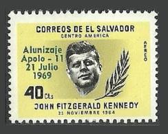 EL SALVADOR 1969 SPACE APOLLO 11 OVERPRINT ON JFK KENNEDY SINGLE AIR MNH - El Salvador