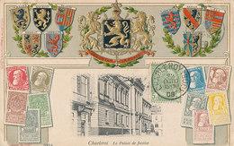 D33733 CARTE MAXIMUM CARD RR 1908 BELGIUM - COAT OF ARMS LION RELIEF STAMP CARD CHARLEROI CP ORIGINAL - Coat Of Arms
