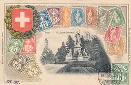 D33734 CARTE MAXIMUM CARD RR 1905 SWITZERLAND - COAT OF ARMS CROIX BLANCHE RELIEF PHILATELY CARD BASEL CP ORIGINAL - Philatélie & Monnaies