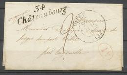 1840 Lettre Cursive 34 Châteaubourg + CAD Type 13 Vitré + 1d. Rouge TB. P1893 - Poststempel (Briefe)