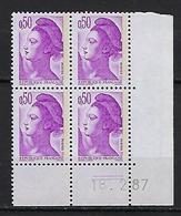 """FR Coins Datés YT 2184 """" Liberté 50c. Violet """" Neuf** Du 18.2.87 - 1980-1989"""