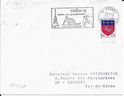 HAUTE SAVOIE 74 -  THONES  -  FLAMME N° 1825a  - VOIR DESCRIPTION -   1967- - Marcophilie (Lettres)