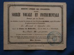 Billet De La Société Lyrique Des épicuriens Salon Des Folies De Belleville 18 Septembre 1850 L381 - Other