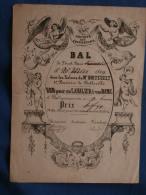"""Billet De La Société Lyrique Des épicuriens Bal Du 26 Mai 1849 """"Bon Pour Un Cavalier & Une Dame"""" L381 - Other"""
