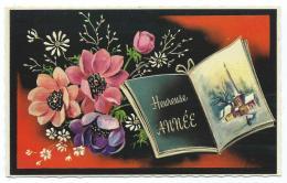 JOLIE CPSM FANTAISIE GAUFREE HEUREUSE ANNEE, BOUQUET DE FLEURS, LIVRE OUVERT, NOUVEL AN, NOUVELLE ANNEE - Nouvel An