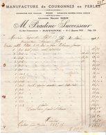 M PRADINE  64  BAYONNE  MANUFACTURE DE COURONNES EN PERLES  -  FACTURE 1927 - Ambachten