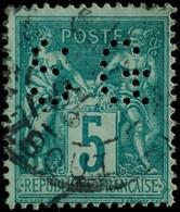 Sage N°75 Type Il O.(CAD) PARIS Rue Taitbout Perforé S.G - 1876-1898 Sage (Type II)