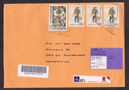 Uruguay: Registered Cover To Netherlands, 2000s, 4 Stamps, Fish Vendor, Israel, Art, Cancel Farmacia, Label Not Home - Uruguay