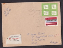 Uruguay: Registered Cover To Poland, 1989, 5 Stamps, Hydro Electricity, Dam, Energy, R-label (minor Damage) - Uruguay