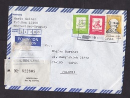 Uruguay: Registered Airmail Cover To Poland, 1990, 3 Stamps, Personalities, R-label (minor Damage) - Uruguay