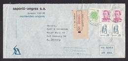 Uruguay: Registered Airmail Cover To Germany, 1979, 5 Stamps, Flower, Scultpture, Heritage, R-label (traces Of Use) - Uruguay