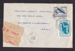 Uruguay: Registered Cover To USA, 1958, 2 Stamps, Championship Swimming, Sports, Airplane, R-label ( Minor Damage) - Uruguay