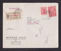 Uruguay: Registered Cover To Peru, 1945, 2 Stamps, Statue, Varela, Nice R-label (minor Damage) - Uruguay