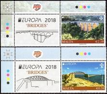 CEPT / Europa 2018 Malte ** Ponts Et Viaducs + Vignette - 2018