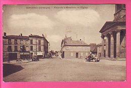 BERGERAC PLACE DE LA MADELEINE ET L'EGLISE PHARMACIE DELRIAL AUTOMOBILES - Bergerac