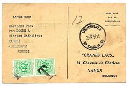 CP Port Payé Càd USUMBURA 26.9.57 D' Une Mission Catholique à KARUSI - Taxée 1,60 F Par TP Belges 857(2) à NAMUR. TB - Ruanda-Urundi