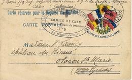 """1916- C P F M Illustrée Drapeaux  """" Comité De CAEN / Hôpital Auxiliaire Du Territoire N°9 """" - Marcophilie (Lettres)"""