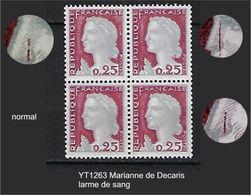 """FR Variétés YT 1263 Bloc De 4 """" Marianne Decaris """" 1960 Larme De Sang TAN - Varieties: 1960-69 Mint/hinged"""