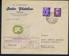 Italy: Corrieri Alta Italia  Privat Postal Service 1945 On Registered Letter With Certificate B Savarese Oliva - Marcofilie