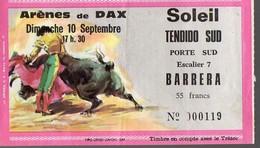 (Tauromachie) Dax (40 Landes) Ticket D'entrée Aux Arènes  Dimanche 10 Septembre  19xx  (PPP12443) - Biglietti D'ingresso