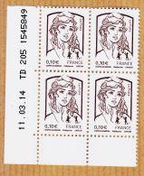 Timb016 Coin Daté  11/03/2014 MARIANNE CATELIN 2013 Y&T N° 4765 ** CIAPPA KAWENA 0.10 €  - TD 205 1545849 - Coins Datés