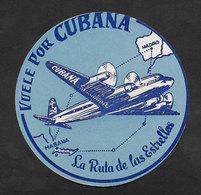 Cuba Cubana Aviation Etiquette Valise Habana Madrid Espagne Espãna Cuba Spain Airline Luggage Label - Étiquettes à Bagages