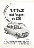 Publicité , Issue Magazine , 1970  , Automobiles , PEUGEOT 104, 4 PORTES , Frais Fr : 1.45 E - Publicidad