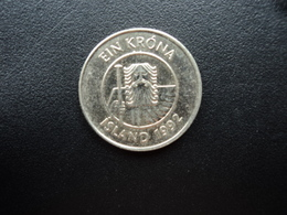 ISLANDE : 1 KRONA  1992  KM 27a    SUP+ - Islandia