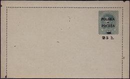 Poland 1918 Krakowskie Provisional Issues Leter Card Error Owerprint Poczta Polska 25 H Signed GW464 - ....-1919 Übergangsregierung