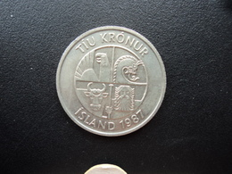 ISLANDE : 10 KRONUR  1987  KM 29.1a    SUP+/SUP - Islandia