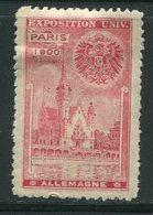 ALLEMAGNE- Vignette De L'exposition Universelle De Paris De 1900- Neuve Avec Charnière * - 1900 – Paris (Frankreich)