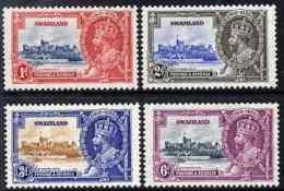 78229 (castles) Swaziland 1935 KG5 Silver Jubilee Set Of 4, Mounted Mint SG 21-4 - Châteaux