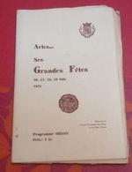 Programme Officiel Fête D'Arles 1931 L Opéra,Concert,Corrida Matador Cartel Madrid Manolo BienvenidaGala Taurin Cocarde - Programmes