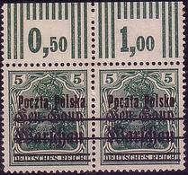 Poland 1918 Germania GGW Double Error Provisional Owerprint Poczta Polska Pair Fi 7c G.signed. MNH** W565 - ....-1919 Übergangsregierung