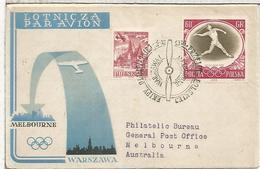 POLONIA SLANIA CC A JUEGOS OLIMPICOS MELBOURNE AL DORSO MAT OLYMPIC VILLAGE - Sommer 1956: Melbourne