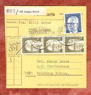 Paketkartenteil, MiF Heinemann, Lingen Nach Feldberg 1975 (51521) - Lettres & Documents