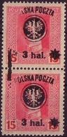 Poland 1918 Mi 21 Vertical Pair Double Error, Provisional Owerprint Poczta Polska MNH** W477 - ....-1919 Übergangsregierung