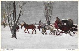 [DC11852] CPA - D. ROUX PINX - LA DILIGENCE - CARTE ARTISTIQUE VIENNOISE - CARROZZA NEVE - Non Viaggiata - Old Postcard - Cartoline